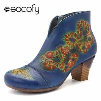 Socofy Vintage Genuine Leather Winter Boots Women Shoes Woman Ankle Boots Flower Printed Chunky Heel Booties Autumn Ladies Shoes - DISCOUNT ITEM  50% OFF All Category