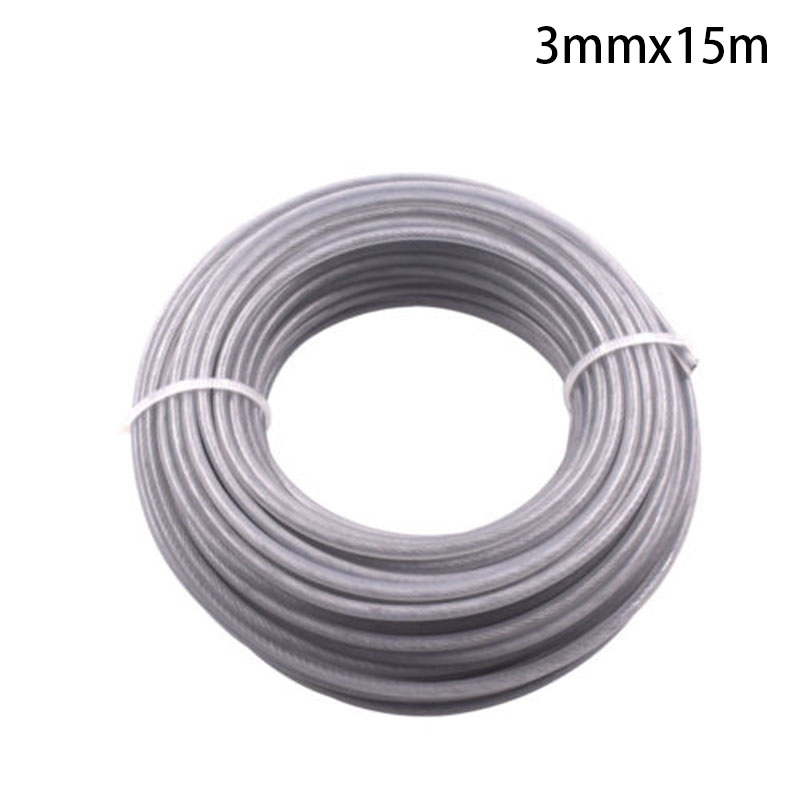 Strimmer Brushcutter Wire Cord Line Thickness 3mm Length 15m Steel Gray forLawn Mowers Trimmer Brush Cutter