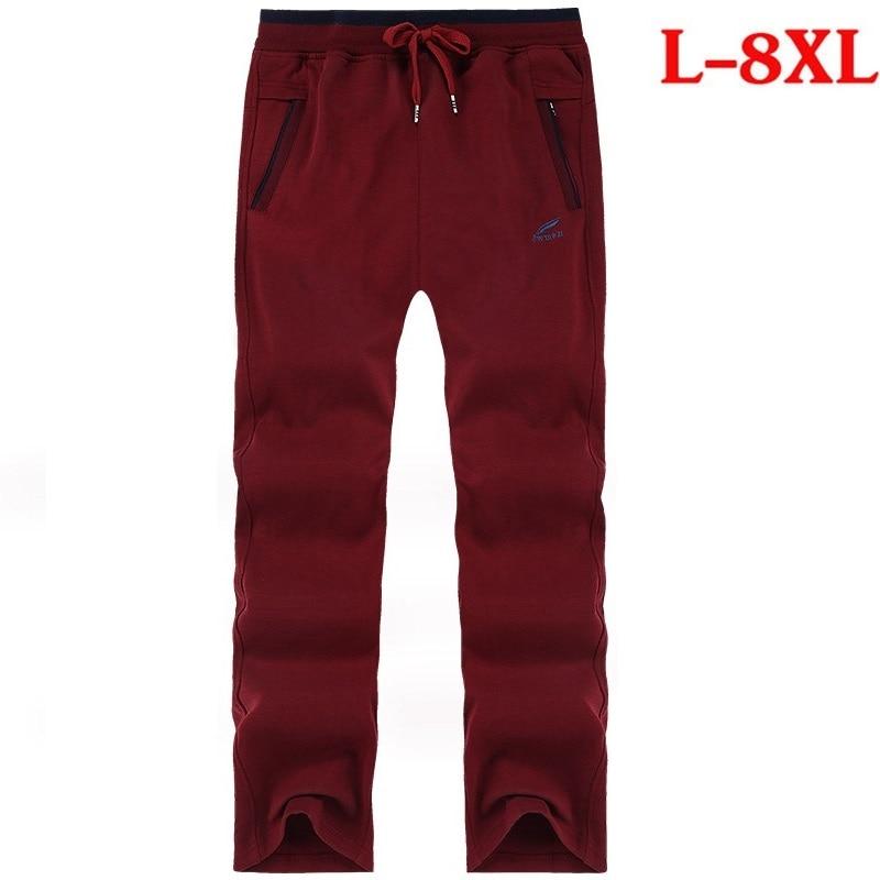 Big Tall Men Pants Cotton Sweat Pants Plus Size Big Sweatpant Casual Jogger Elastic Waist Band Trouser Male Fat Oversize 6XL 8XL