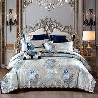 Silver Golden color King Queen Size Bed set Satin Jacquard Cotton Luxury Royal Bedding Set Bed Sheet set Duvet cover 40