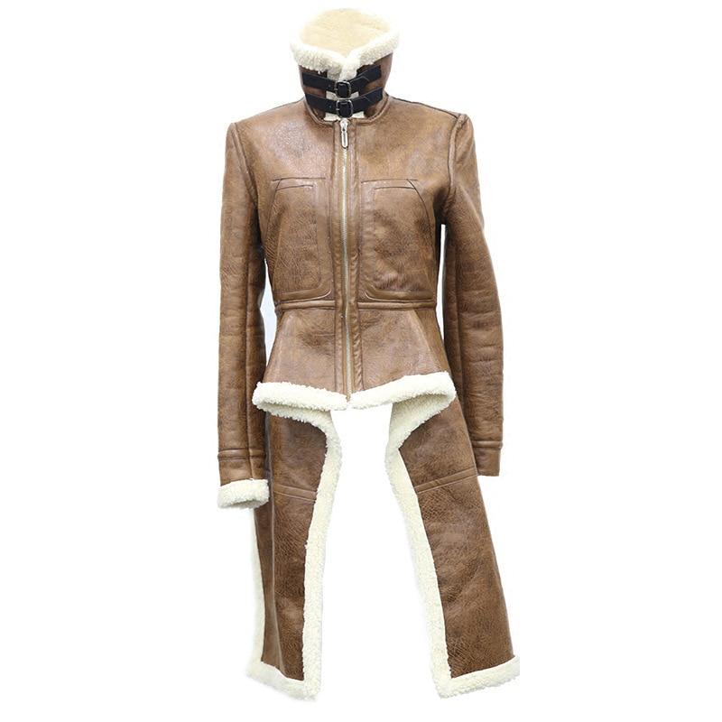 Irrégulière Femmes Survêtement De D'hiver Manteaux Moto Femme 2019 Femelle Marron Épais Long En Veste Agneau Et Fourrure Cuir qqP1wFO0