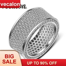 Vecalon Full 320Pcs AAAAA Zircon Cz Wedding Band Ring for Women 10KT White Gold Filled Female Engagement Band Sz 5-11(China)
