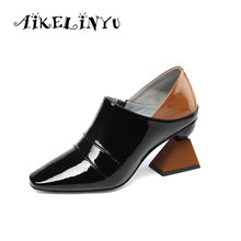 AIKELINYU 2019 New Top Quality Genuine Leather Shoes Fashion Zipper Square High Heels Shoes Pumps Pointy Women Mixed Colors Pump цена 2017