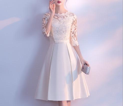Été courte Maxi formelle dentelle robe de soirée femmes élégant grande taille o-cou dentelle dîner robes 2019