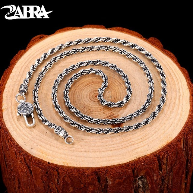 ZABRA Handmade 3mm Solid 925 Sterling Silver Weave Chain Necklace Oxidized Buddhism Six Words 50 55 60 Mens Jewelry Vintage