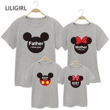 LILIGIRL/семейные хлопковые одинаковые Комплекты Одежда для мамы, дочки, папы и сына, футболки с Минни Маус футболка с Микки-Маусом