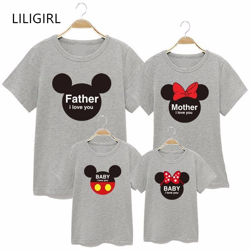LILIGIRL Family Cotton Matching Clothes Mother Daughter Father Son Minnie Shirts Outfits Mommy And Me Mickey T-shirt Clothing