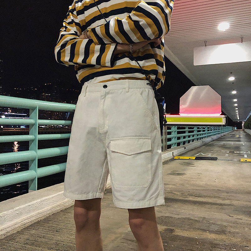 Men's Shorts 2019 Summer New Slimming Cargo Shorts Baggy 5 Sport Pants Casual Straight Trousers Personality Youth Men's Wear