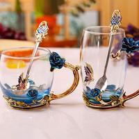 8pcs Heat resistant Enamel Rose Tea Cup High Grade Crystal Glass Juice Couple Coffee Beer Cups Drink Tea Mug Drinkware Set