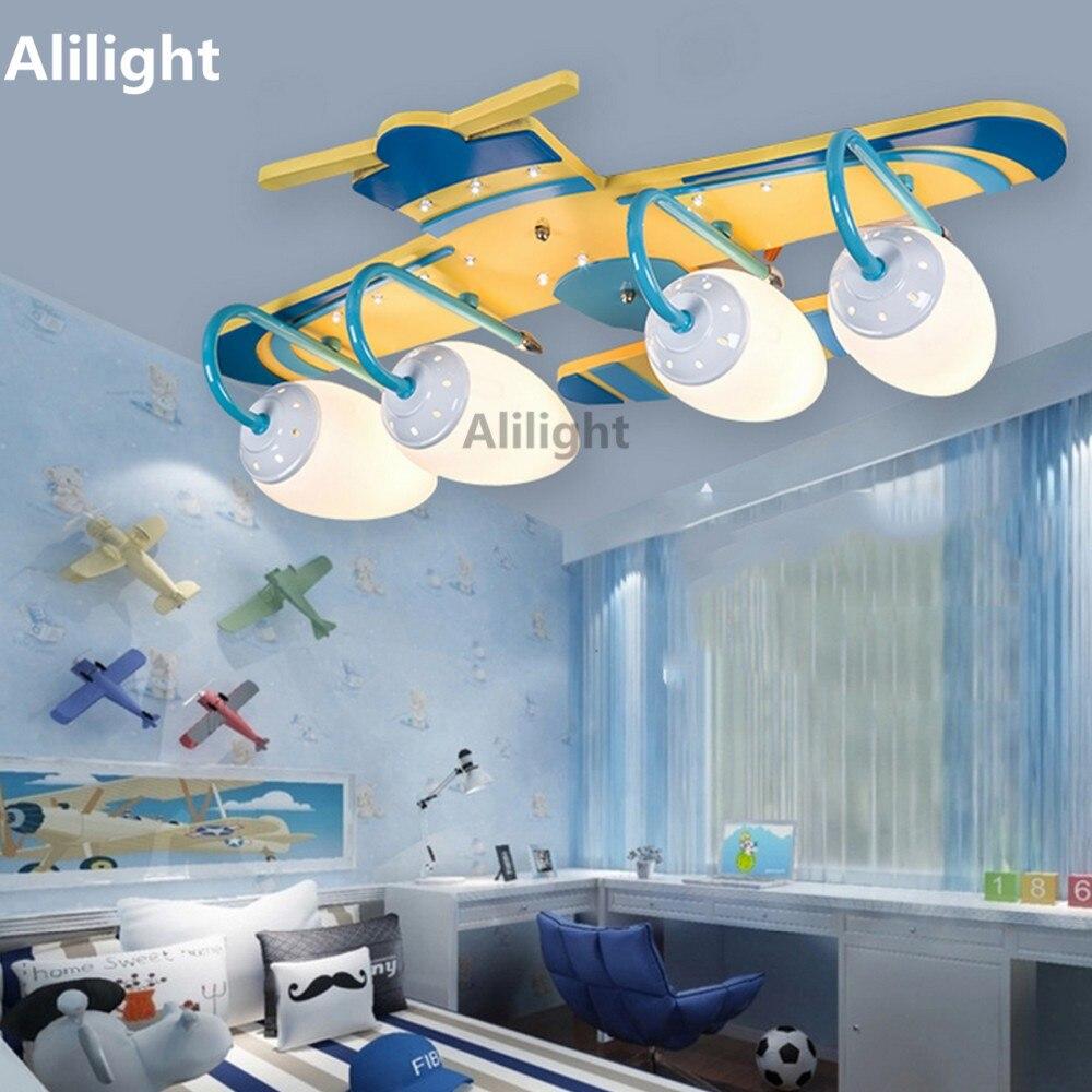 Cartoon Moderne Plafondlamp Helicopter Vorm Plafondlamp Kinderen Oog Beschermen Binnenverlichting Decor Inbouw Voor Slaapkamer