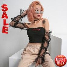 Одежда футболки для женщин 2019 корейский Готический Мода черный с открытыми плечами длинный рукав укороченный топ панк-рок стиль сетчатая рубашка