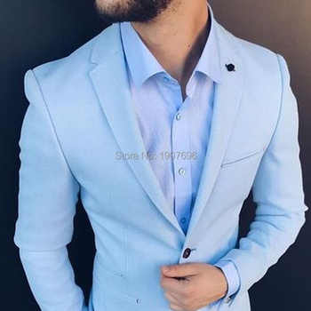 Slim Fit Men Suits for Wedding Prom Tuxedos 2019 Light Sky Blue 2 Piece Jacket Pants Male Suit Set Man Stage Clothes