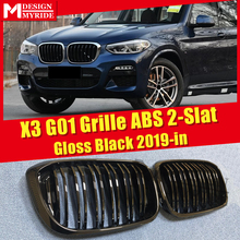 X3 G01 M-Style Grille ABS Gloss Black Front Bumper grills Mesh 1 Pair For 2 Slats Kidney 2019-in