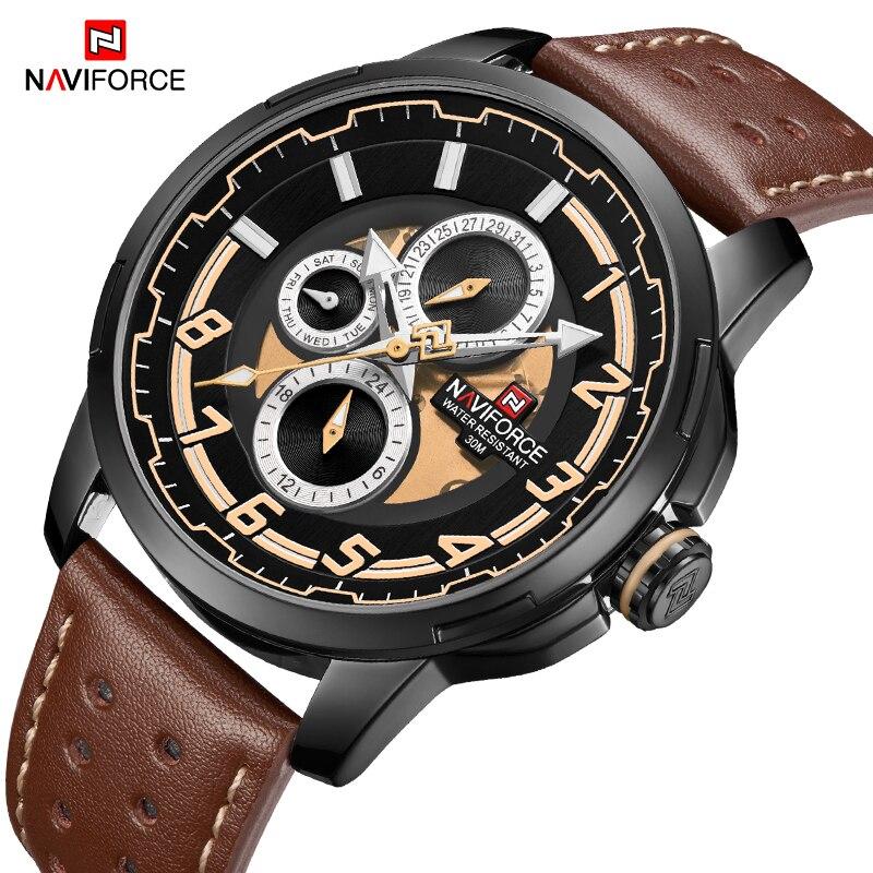 купить NAVIFORCE Men's Sports Watches Military Luxury Brand Watch Mens Quartz Leather Male Clock Fashion Wristwatches Relogio Masculino по цене 1882.17 рублей