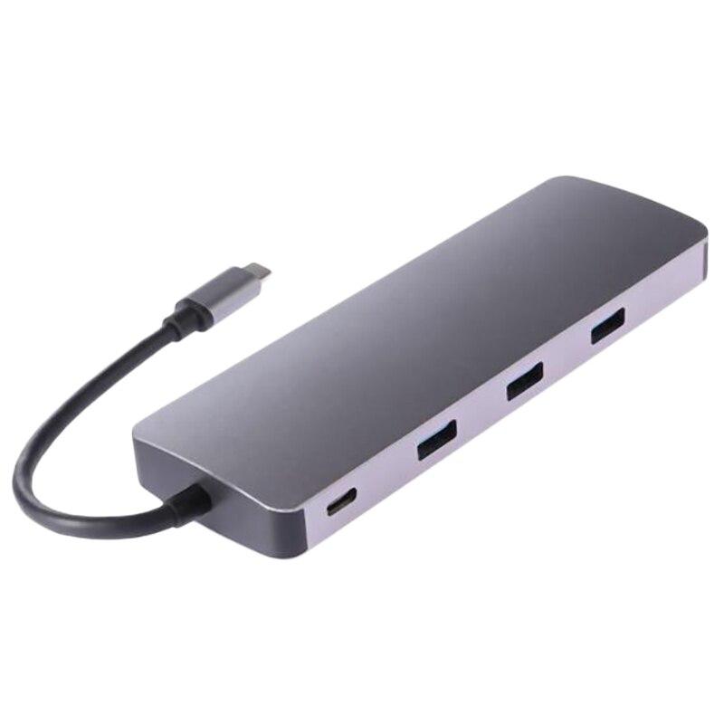Type C Hub 9 en 1 USB-C à 4K Hdmi Pd Vga 3Xusb3. 0 Tf carte Rj45 Lan adaptateur câble convertisseur