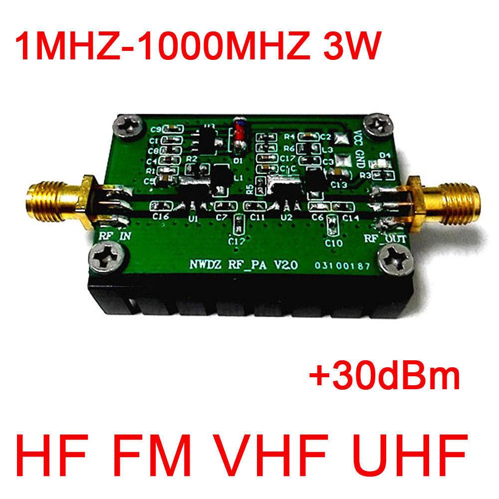 1MHZ - 1000MHZ 3W 35DB HF VHF UHF FM Transmitter Broadband RF Power Amplifier For Ham Radio Walkie Talkie Short Wave Remote