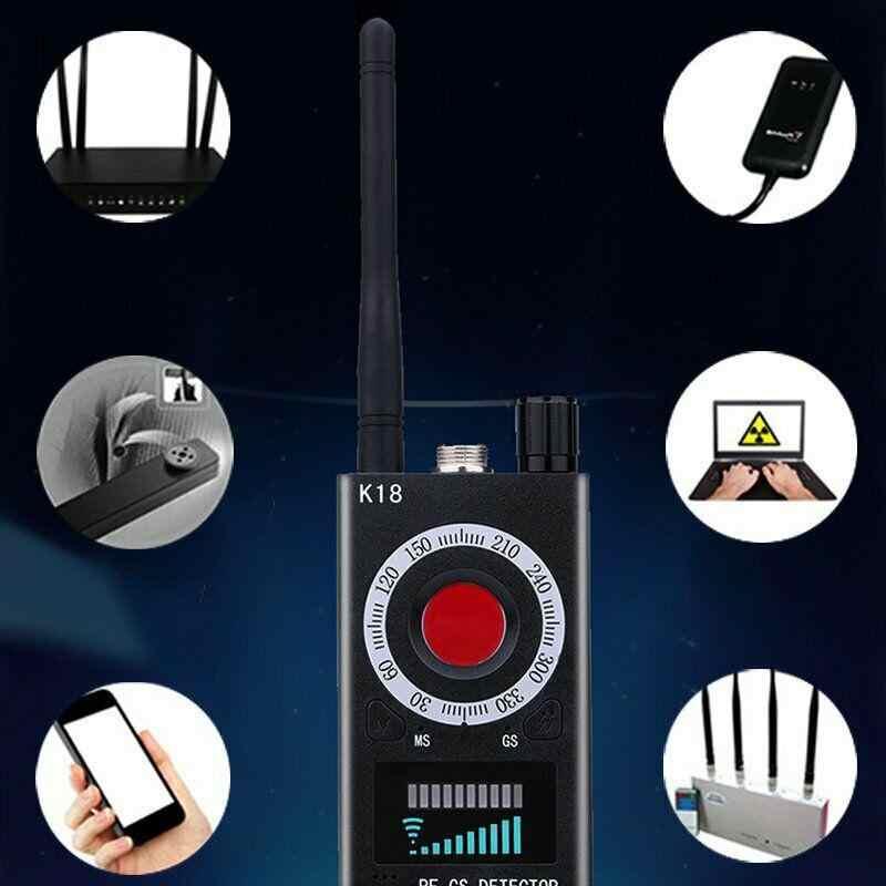 K18 Đa Chức Năng Chống Dò Camera GSM Âm Thanh Lỗi Tìm Tín Hiệu GPS Ống Kính RF Theo Dõi Phát Hiện Không Dây Sản Phẩm 1 MHz-6.5 GHz R60
