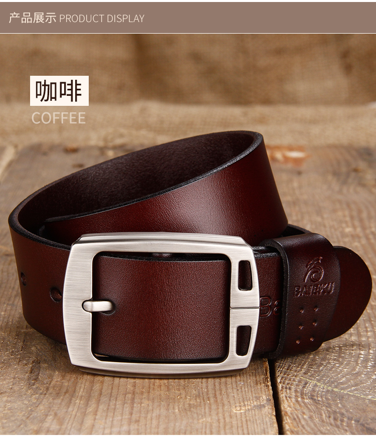 Classic Men/'s Real Genuine Leather Waistband Waist Belt Strap Girdle Pin Buckle