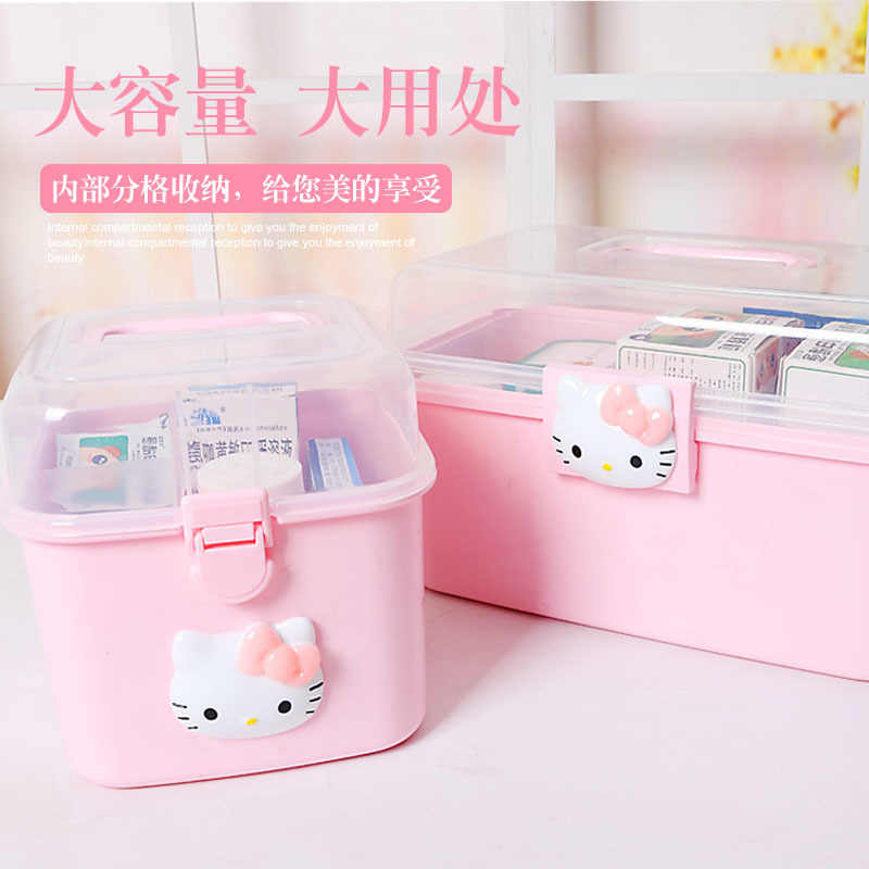 Hello Kitty Plastic Container Storage Gift Toy Box For Jewelry Cosmetic Drawer Desk Organizer Pill Box