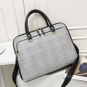 Fashion Women Leather Briefcase Woman Laptop Handbag Office Work Bags For Womens Business Shoulder Bag Computer 14.1 Inches New