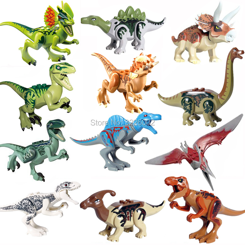 Single legoing Jurassic Sale Dinosaurs park Pterosauria Triceratops Indomirus T-Rex World Figures Bricks Toys Building Blocks 2 pcs set xl jurassic dinosaurs indominus rex and t rex gyrospheres