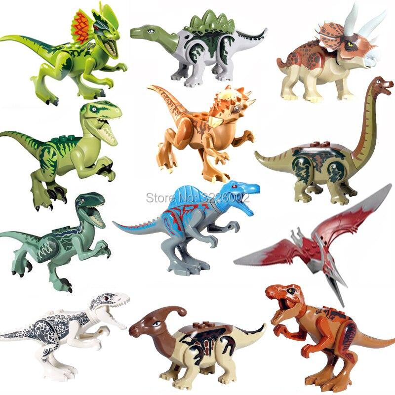 Singolo legoing Jurassic Vendita Dinosauri parco Pterosauria Triceratops Indomirus T-Rex Del Mondo Figure Giocattoli Dei Mattoni Blocchi di Costruzione
