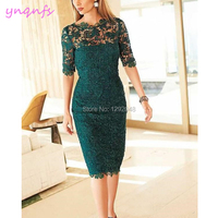 YNQNFS M191 Knee Length Sheath Lace Dress for Wedding Party Guest Wear Emerald Green Mother of the Bride Dresses 2019