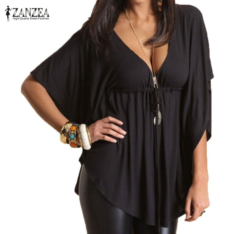 Batwing Sleeve Tops Women Asymmetrical Blouse 2019 ZANZEA Fashion Sexy V Neck Shirts Female High Waist Chemise Plus Size Tee Top