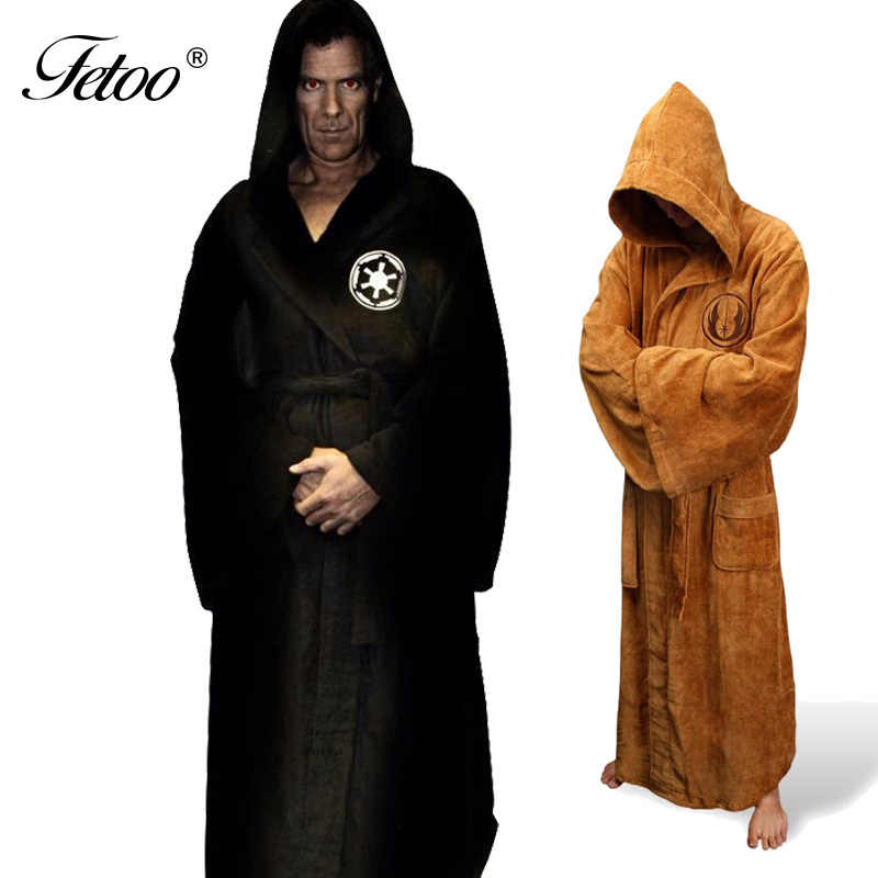 0c94088735 Flannel Robe Male With Hooded Star Wars Dressing Gown Jedi Empire Long  Thick Men s Bathrobe Nightgowns