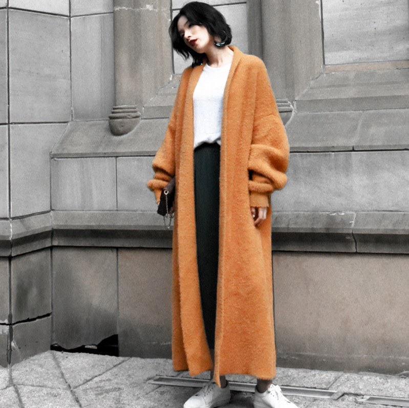 EWQ New Spring Winter Fashion 2019 Long Sleeve V collar Solid Knitting Imitate Mink Villus