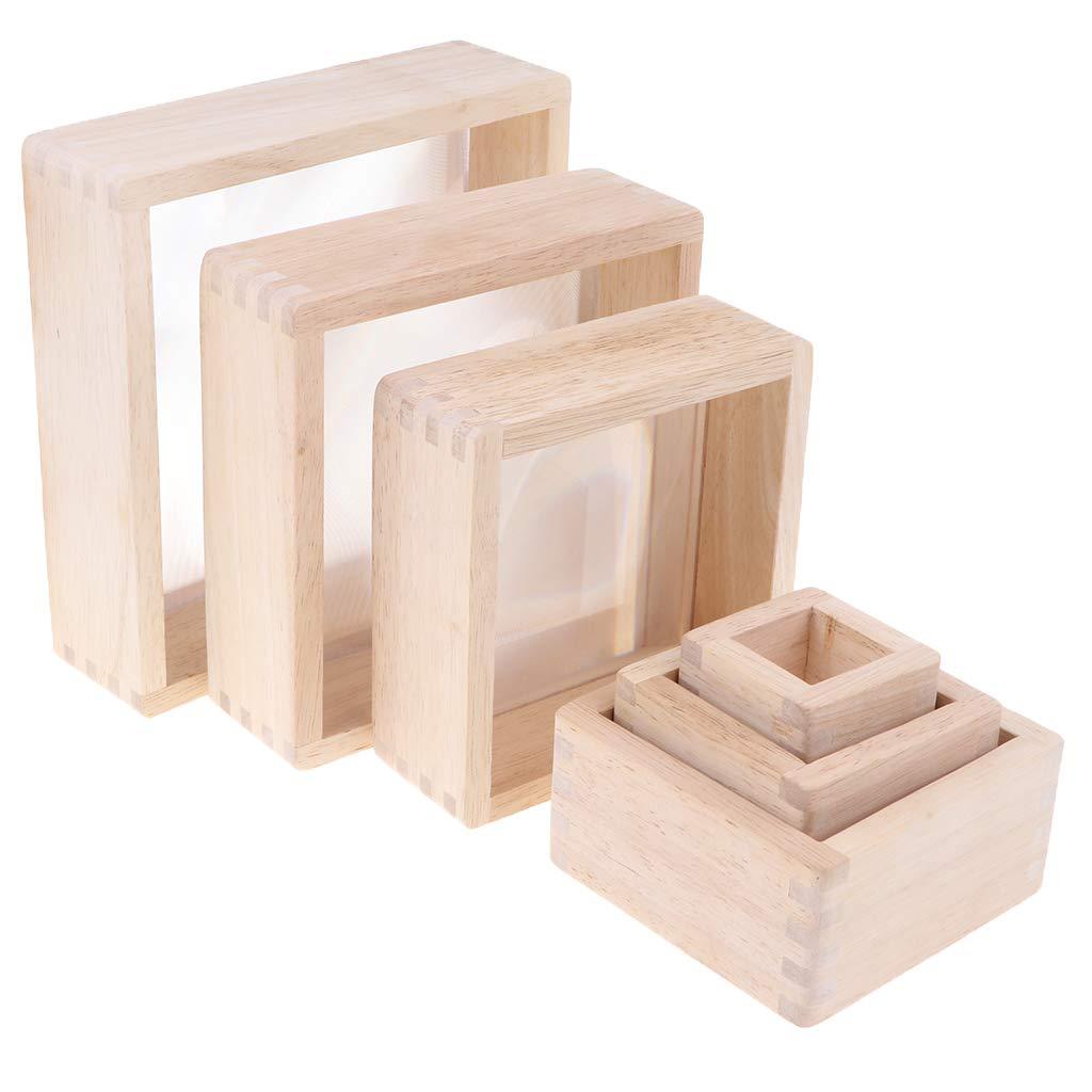 6 pièces blocs de construction en bois jeu d'empilage Montessori jouets éducatifs d'apprentissage précoce pour enfants enfants tout-petits bébé