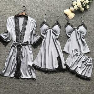 Image 4 - Lisacmpvnle 4 Pcs Women Pajamas Lace Sexy With Chest Pad Nightdress+Shorts+Cardigan Sleepwear