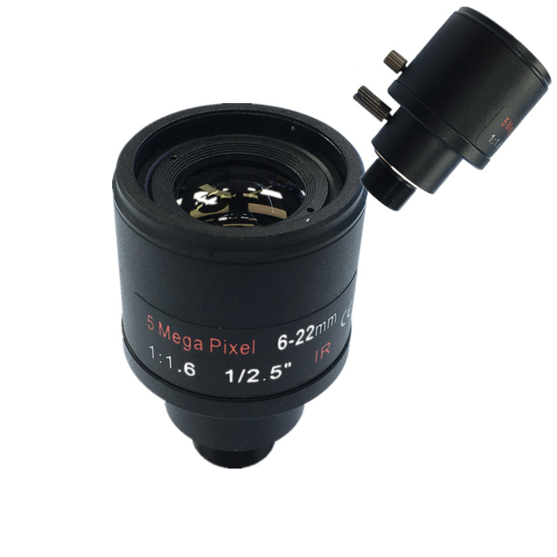 CCTV lens 1/2.5 inch 6-22mm 5MP M12 mount varifocal Lens F1.6 For 4MP/5MP CMOS/CCD Sensor Security IP/AHD CameraCCTV lens 1/2.5 inch 6-22mm 5MP M12 mount varifocal Lens F1.6 For 4MP/5MP CMOS/CCD Sensor Security IP/AHD Camera
