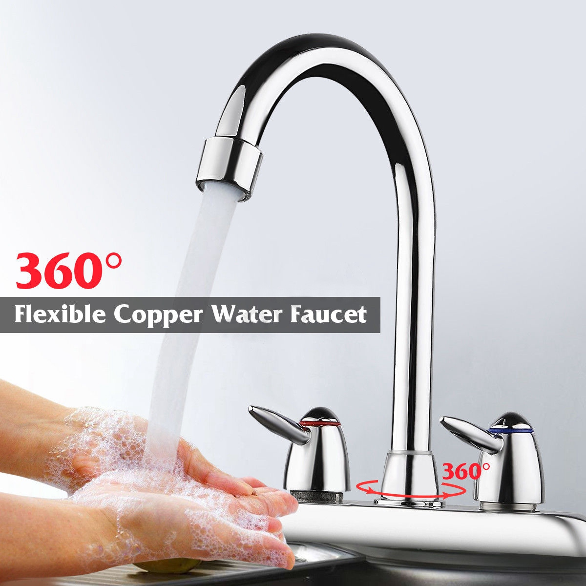 360 Degree Swivel Bathroom Kitchen Faucet Chrome Double Two Handle Hot Cold Sink Mixer Tap Sprayer Water Mixer Tap