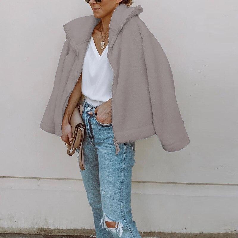 Women 2018 Winter Plush Warm Thick Coats Jackets Femme Casual Overcoat Zipper Outerwear Fleece Faux Shearling Fur Jackets Coat