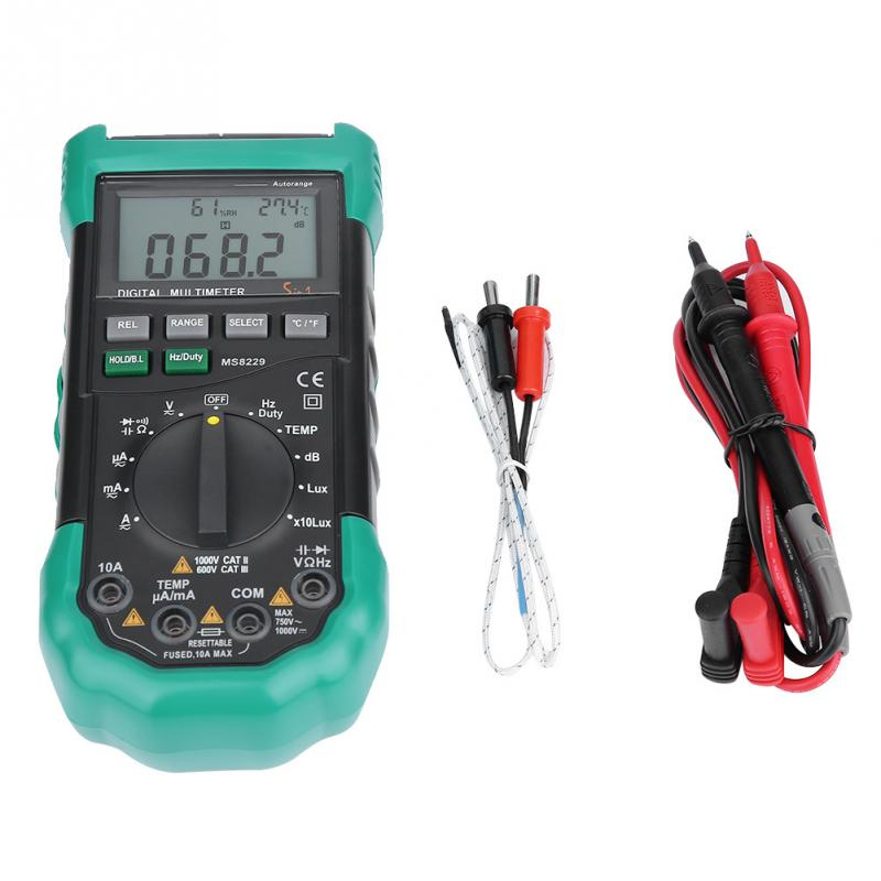 MS8229 Auto Range 4000 Counts Digital Multimeter Temperature Humidity Tester K Type Thermometer Probe Tools