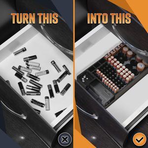 Image 3 - 테스터 배터리 캐디 랙 케이스 박스 홀더가있는 전체 배터리 스토리지 오거나이저 홀더 AAA AA C 용 배터리 체커 포함