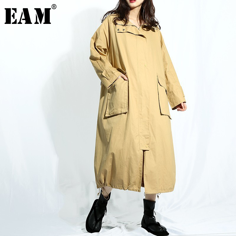 [EAM] 2019 New Spring Hooded Long Sleeve Khaki Big Pocket Split Joint Loose Big Size Long Windbreaker Women   Trench   Fashion YC97
