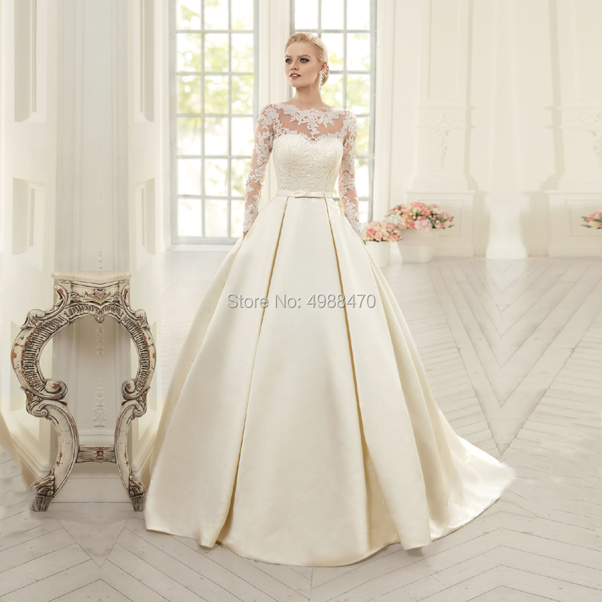 Robe De Mariee 2019 Bridal Dress Appliques Wedding Dresses Lace Up Satin A Line Bride Gowns