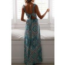 цена на Women Vintage High Waist Split Long Dress 2019 Summer Sexy Bohemian Floral Print Backless Dress
