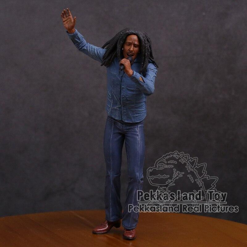Figura de acción de PVC con micrófono, cantante y leyenda de la música de Bob Marley, juguete coleccionable de 18cm 12 juntas móviles ojos 3D muñecas chinas juguetes con accesorios ropa y joyería figura de disfraz Nake Muñeca China juguete para niñas