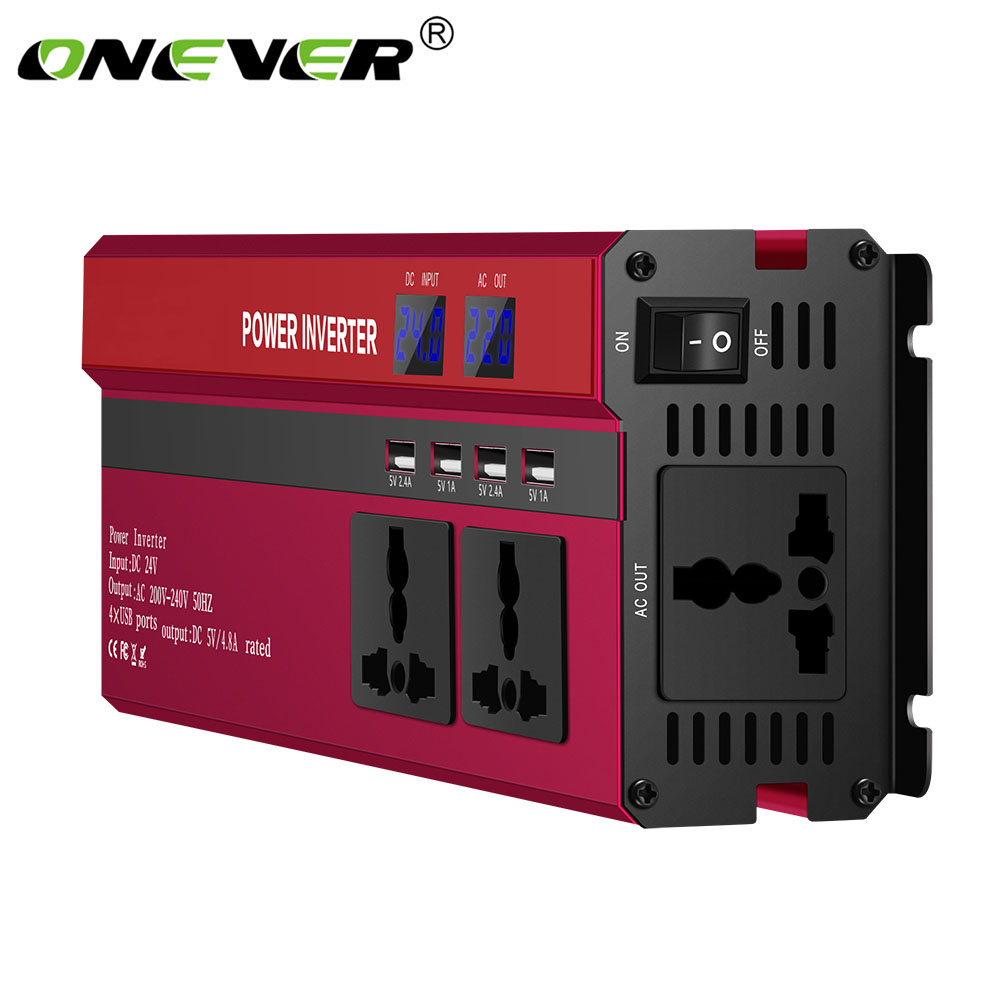 4000W/5000W Solar Car Power Inverter DC12/24V To AC110/220V Sine Wave Converter Digital Display 4 USB Interfaces