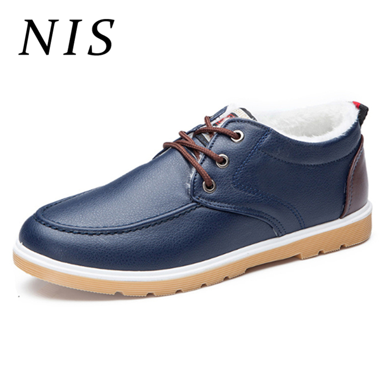 NIS Big Size Eur39-44 PU Leather Plush Inner Winter Shoes Men Flats Casual Shoes Men Sneakers Oxfords Business Driving Flats New