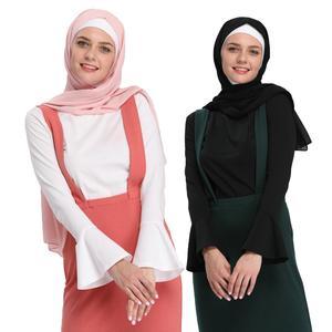 Image 1 - Muslim Women Tops Undershirt Abaya Long Sleeve Tight T Shirt Blouse Horn Sleeve O neck Casual Islamic Clothing Turkey Arab New