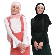 มุสลิมผู้หญิง Tops เสื้อกล้าม Abaya แขนยาวเสื้อยืดเสื้อฮอร์นแขน O Neck ลำลองเสื้อผ้าอิสลามตุรกีอาหรับใหม่