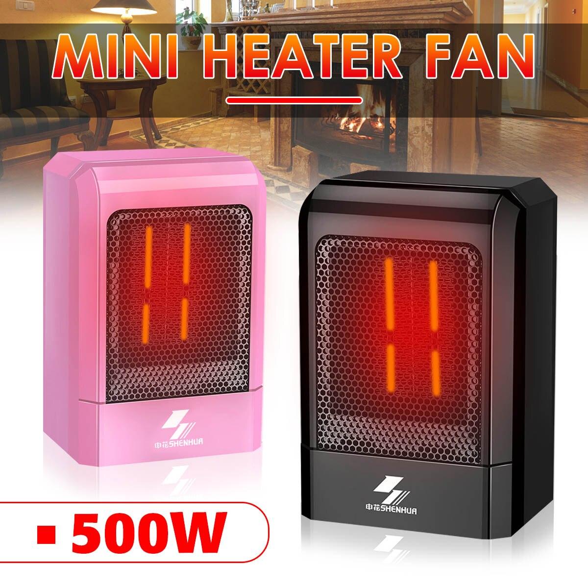 500W 220V Portable Electric Mini Fan Space Heater Winter Warm Home Office Desk US Plug PTC Ceramic Heating Energy Saving 1