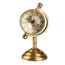 Медный вращающийся глобус в стиле ретро, золотые настольные Механические карманные часы с ручным механизмом, роскошное украшение для дома и офиса, коллекционное