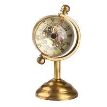 Globo giratorio de cobre Retro, Reloj de bolsillo mecánico de escritorio dorado, cuerda de movimiento manual, decoración de lujo para el hogar y la Oficina, coleccionable