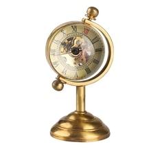 Retro cobre girando globo ouro mesa relógio de bolso mecânico movimento corda mão escritório em casa decoração luxo como collectible