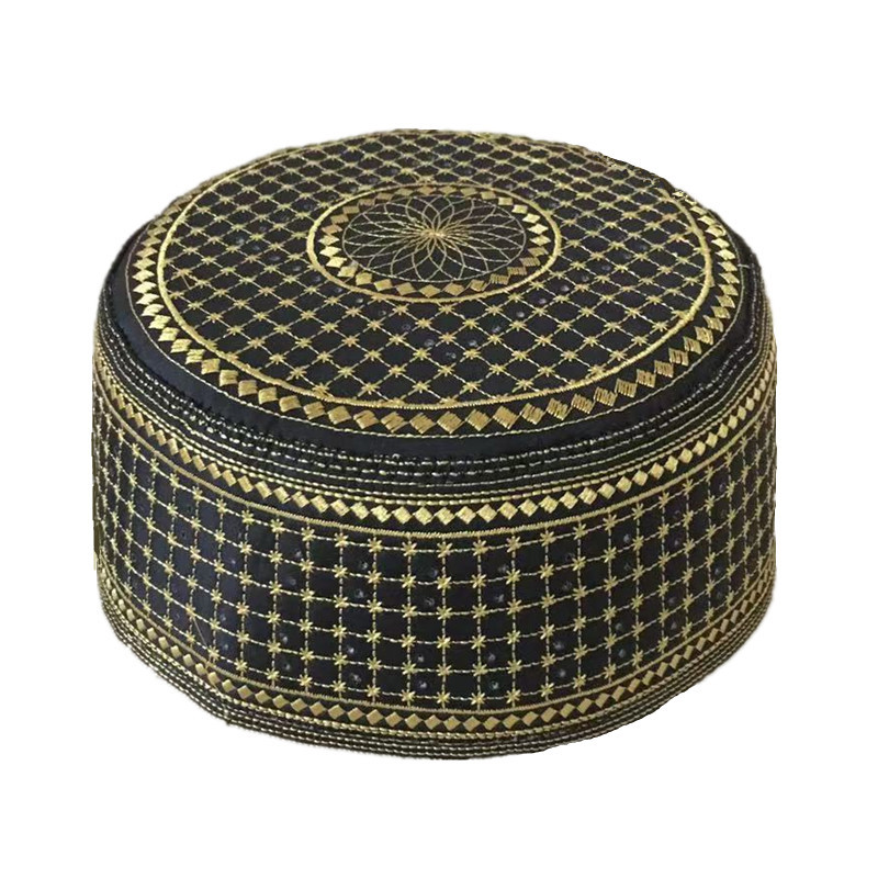 Black Muslim Hats Men Başörtüsü Arabic Turkish Topi Kufi Hat Jewish Kippah Namaz Islam Cap Turbante Turco Hombre Kippot Bonnet